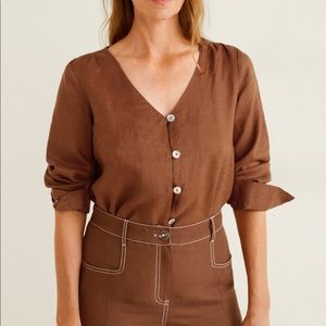 Mango Button Linen Blend Blouse
